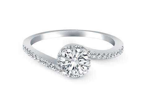 Bypass Swirl Diamond Halo Engagement Ring in 14k White