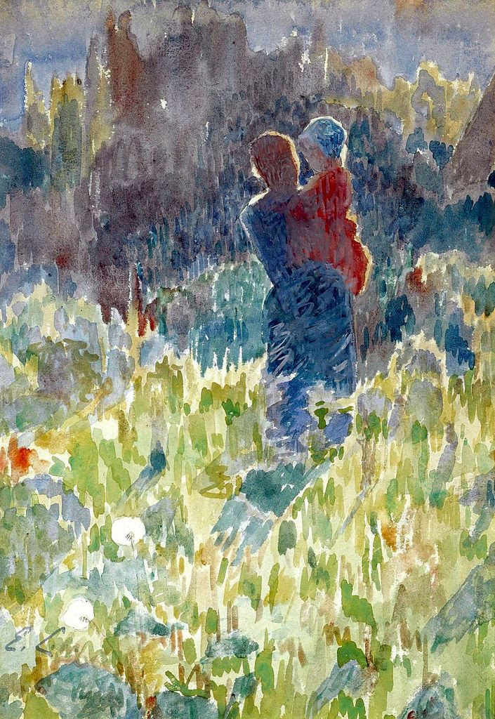 Mother and Child in a Sunlit Garden, Emile Claus. Belgian (1849 - 1924)