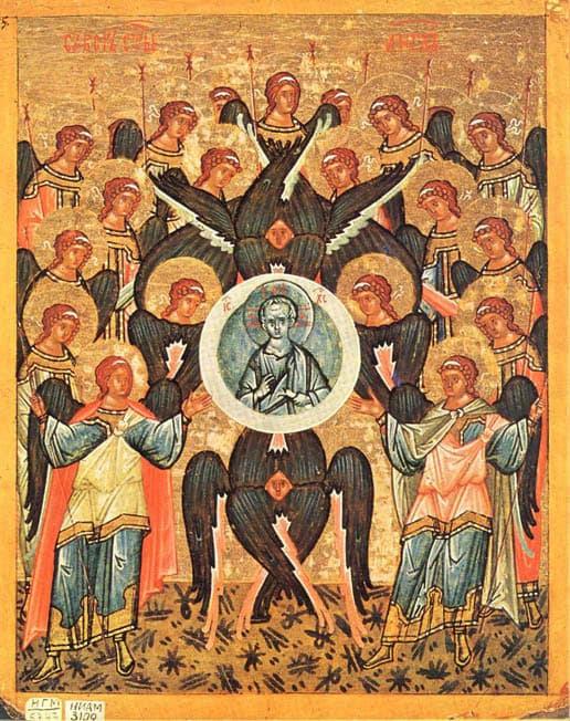 Собор Архистратига Михаила и прочих Небесных Сил бесплотных (новгородская икона, конец XV века)