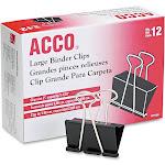 ACCO Binder Clips, Large, Black, 12/Box