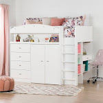 South Shore Tiara White Twin Loft Bed with Desk