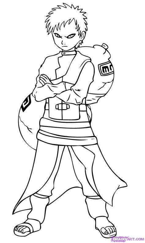 draw gaara step  step naruto characters anime