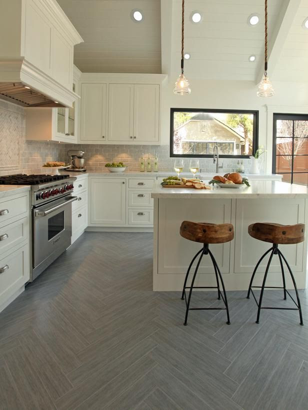 Wood-Look Ceramic Tile: Tile in Disguise in Beautiful Kitchen Flooring Ideas from HGTV