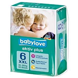 Babylove Windeln Größe XXL 16-30 kg, 2er Pack (2 x 32 Stück)