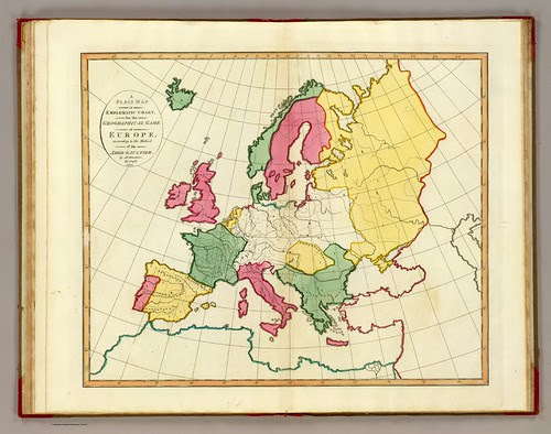 A plain map or emblematic chart for the geographical game of Europe, according to the method of the Abbe Gaultier. By Mr. Wauthier, his pupil, 1797