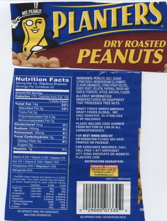 33 Planters Peanuts Nutrition Label