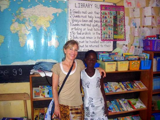 Sue with a Ghanaian student on her last day at Bantuma.