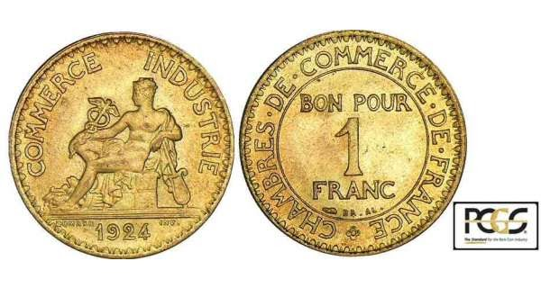 Historia de monedas 1 franco 1924 chambre de commerce for Chambre de commerce franco irlandaise