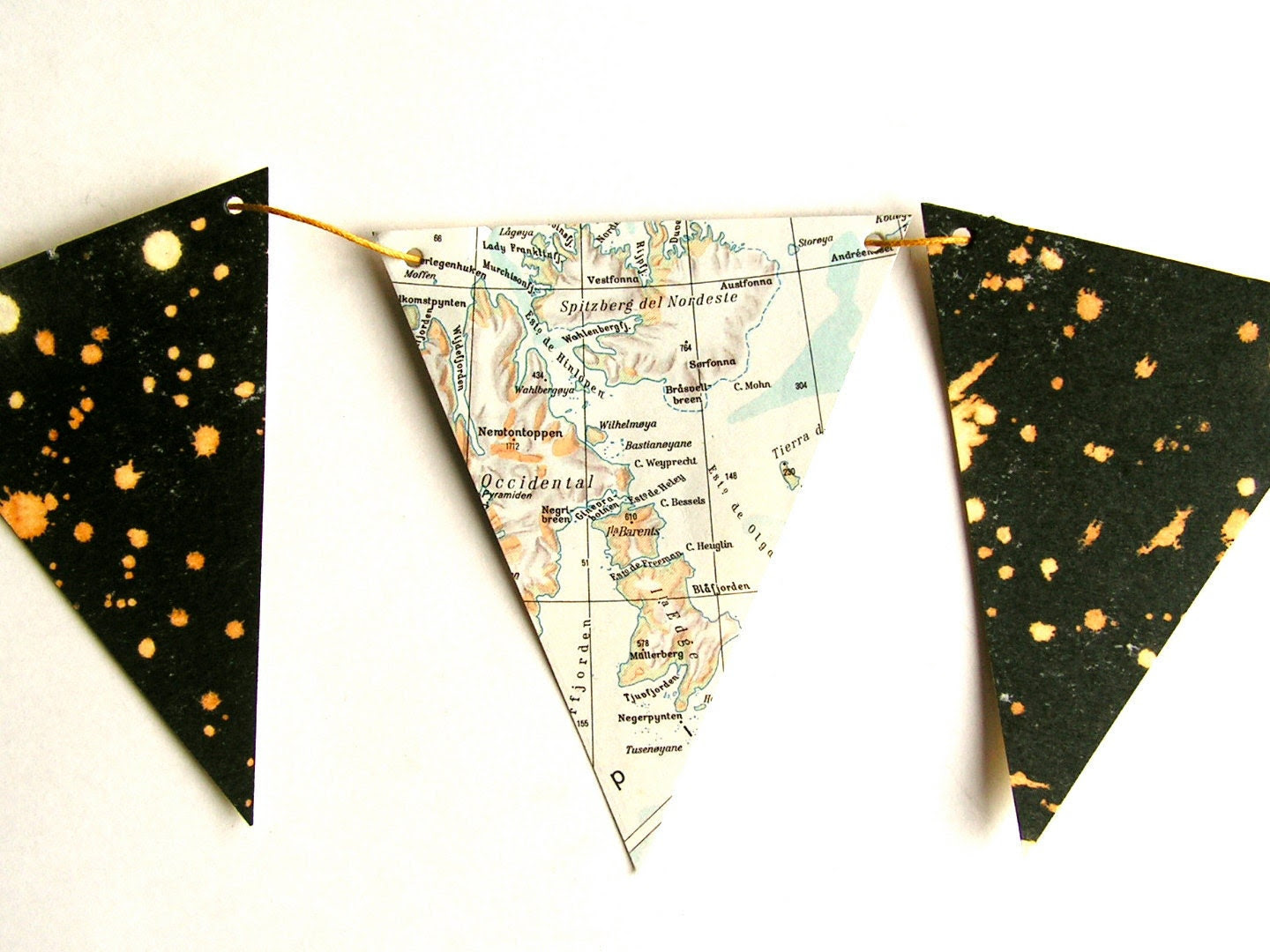 Vintage map and starry night bunting. Home decor. Bookshelf accent.