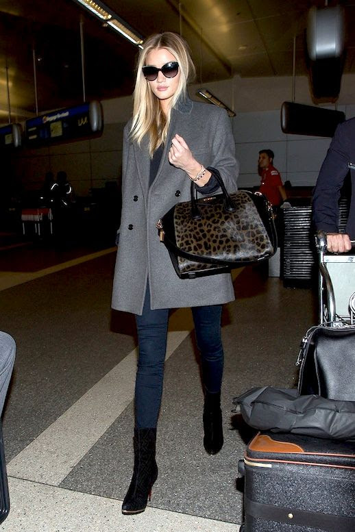 Le Fashion Blog Airport Style Rosie Huntington Whiteley Oversize Sunglasses Grey Coat Leopard Bag Skinny Jeans Black Suede Boots Via Popsugar