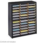 Safco 36 Compartment Value Sorter Literature Organizer Black