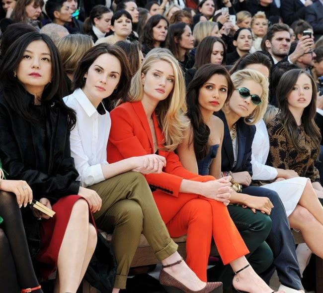 99a Vicky Zhao, Michelle Dockery, Rosie Huntington-Whiteley, Freida Pinto and Rita Ora at the Burberry Prorsum Womenswear Autumn Winter 2013 Show
