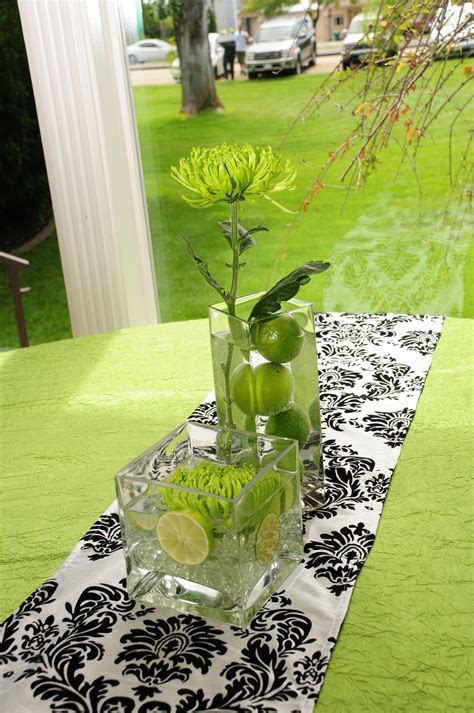 Damask & Lime green wedding   Cute table decor lime