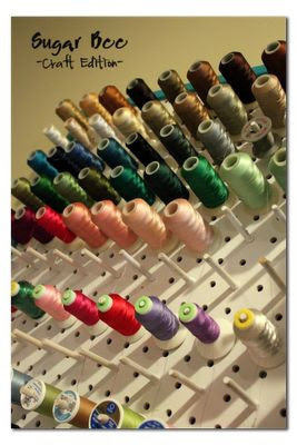get organized!  here's how to make a thread rack to hold all your spools - - Sugar Bee Crafts: Thread Rack - tutorial