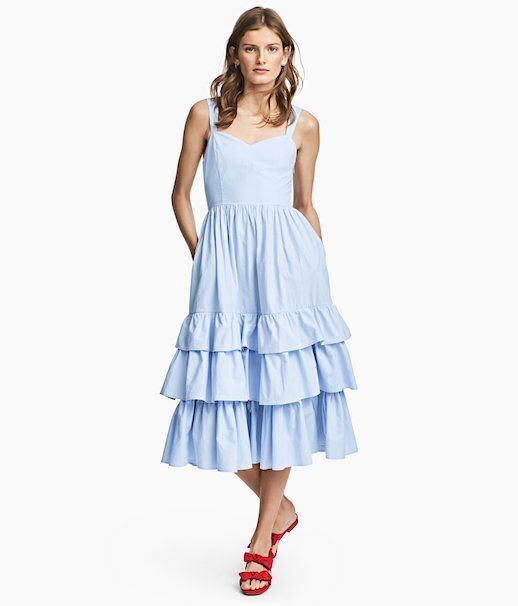 Le Fashion Blog Under $100 HM Cotton Poplin Ruffle Hem Summer Dress Via HM