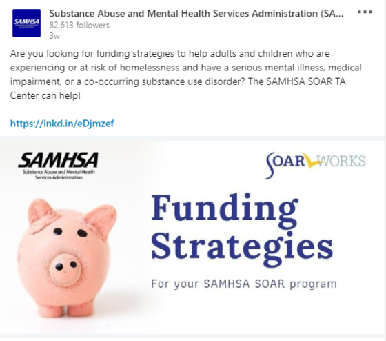 SAMHSA SOAR LinkedIn post on funding strategies for your SAMHSA SOAR program