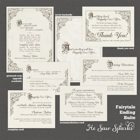 FairyTale Printable Wedding Invitation   Happy Endings