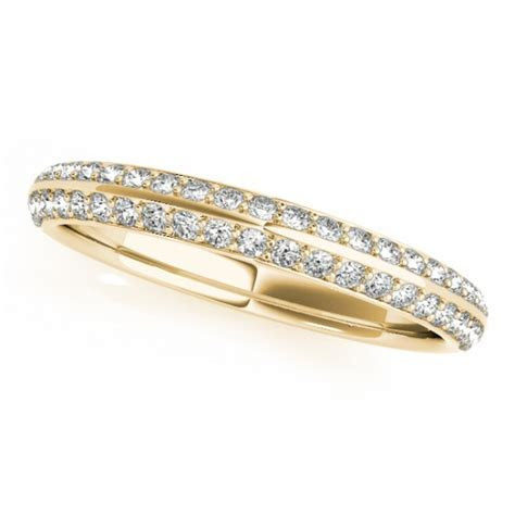 Double Row Micro pave' Diamond Wedding Band 18k Yellow
