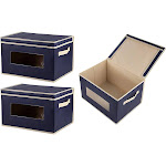 Juvale 3-Pack Navy Blue Decorative Fabric Foldable Storage Cube Bin Lid Clear Windows