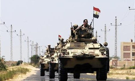 Egyptian military forces in al-Arish in the Sinai Peninsula. The Egyptian government says that dozens of militants have been killed in the area. by Pan-African News Wire File Photos