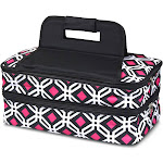 Zodaca Double Casserole Insulated Hot Cold Dishes Carrier Travel Tote Carry Bag for Camping Park Beach, Black