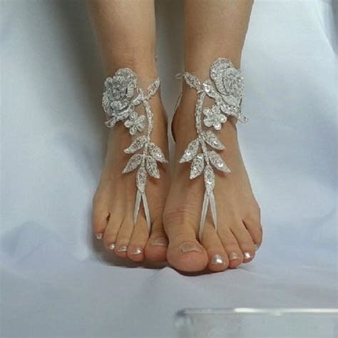 Ivory Silver Frame Barefeet Beach Wedding Country Wedding
