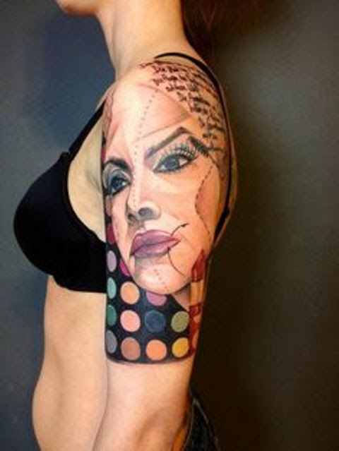 Marie Kraus Tattoo Upper Arm Sleeve With Womans Face Tattoomagz