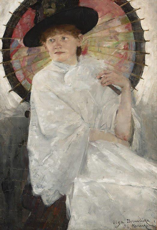 Olga Boznańska, Portret młodej kobiety z czerwoną parasolką, 1888, Monachium, Kolekcja prywatna