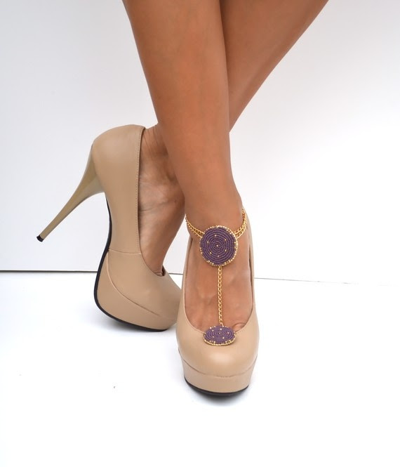 Accessories for my shoes!!!!!  New line item on my budget sheet.  Cha-Ching!  STELLA Purple and gold shoe jewelry and anklet by SweetStarJewelry, $60.00