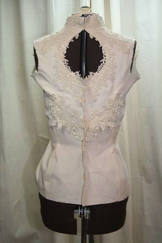 March 2013 vintage wedding gown -bodice with muslin torso back