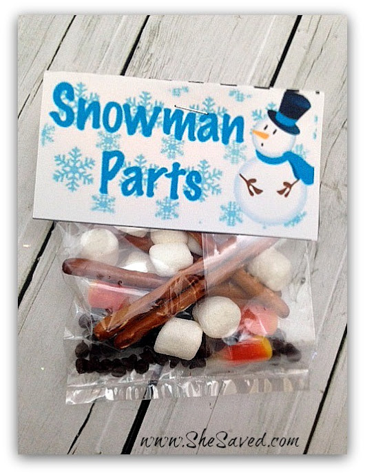 Homemade Gift Idea: Snowman Parts Snack + FREE Printable