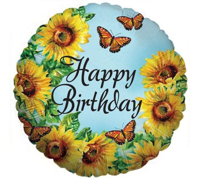 "HAPPY BIRTHDAY 18"" balloons SUNFLOWER BUTTERFLIES ..."