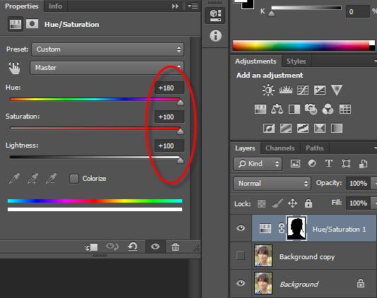 Hình 5: Chỉnh giá trị Hue/Saturation/Lightness để có nền màu trắng