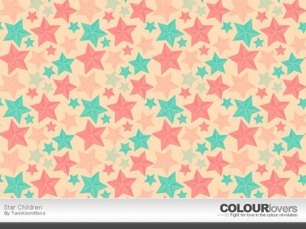 無料素材 立体的な星柄が特徴的なイラストパターンピンク系の