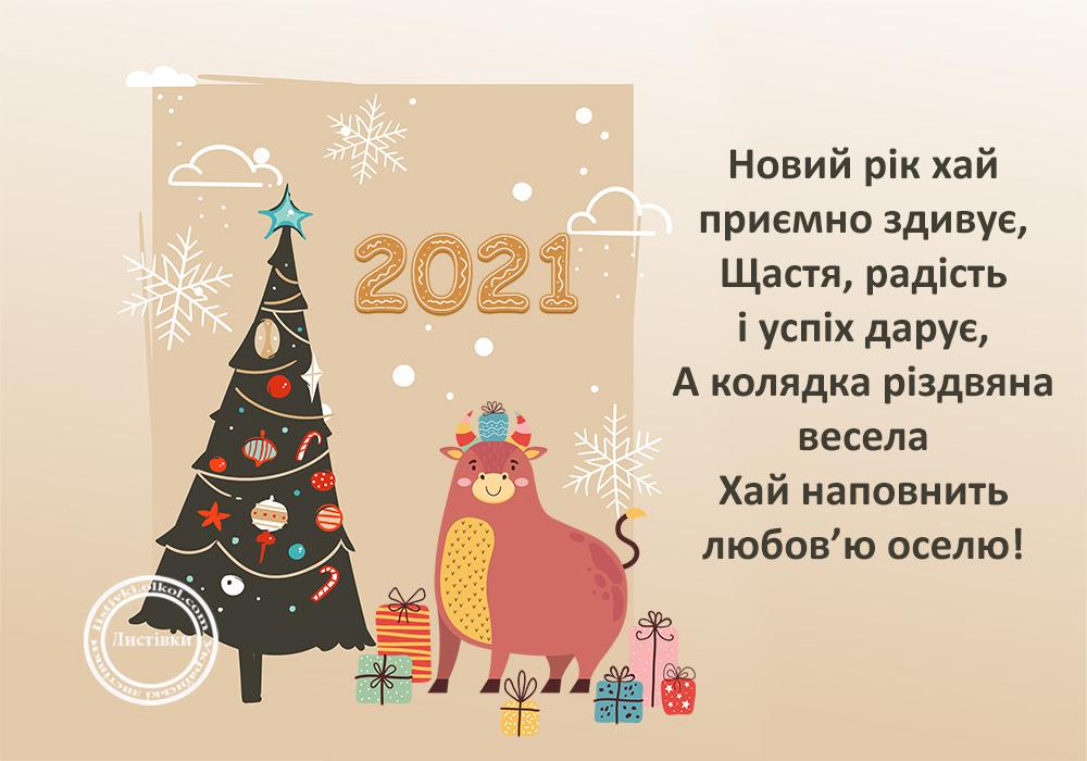 Листівка на Новий Рік 2021 та Різдво Христове