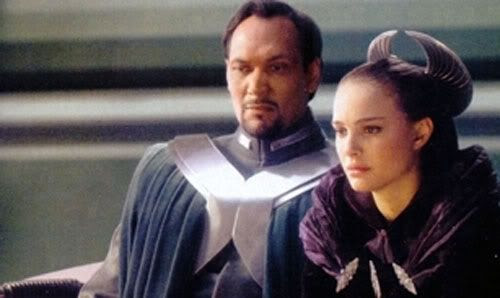 Padme and Senator Bail Organa in the Senate chamber.