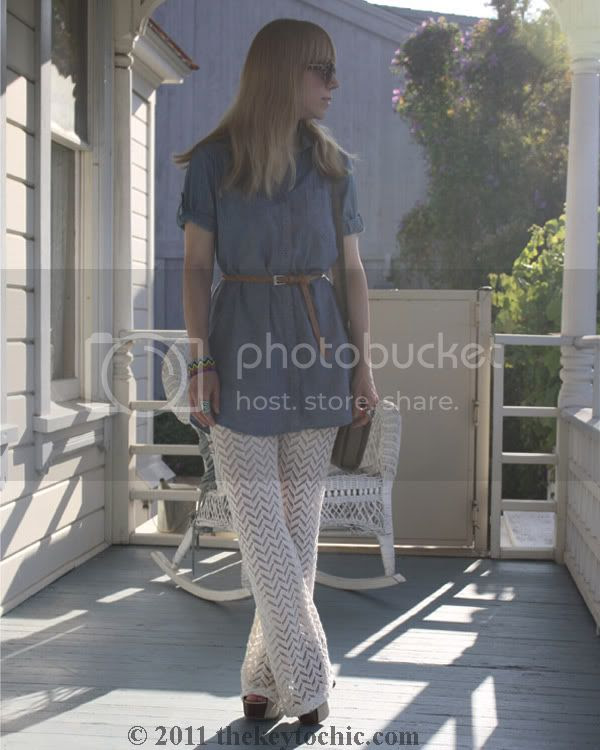 Nasty Gal crochet flare pants, chambray shirt, California fashion blog