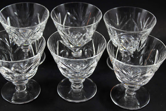 Webb Corbett Crystal, Sorbet or Dessert Glasses (6)