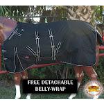 """66"""" Hilason 1200D Winter Waterproof Poly Horse Blanket Belly Wrap Black"""