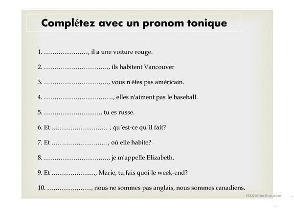 Zaimki akcentowane - ćwiczenie 4 - Francuski przy kawie