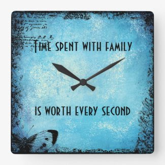Vintage Blue Family Quote Wall clock