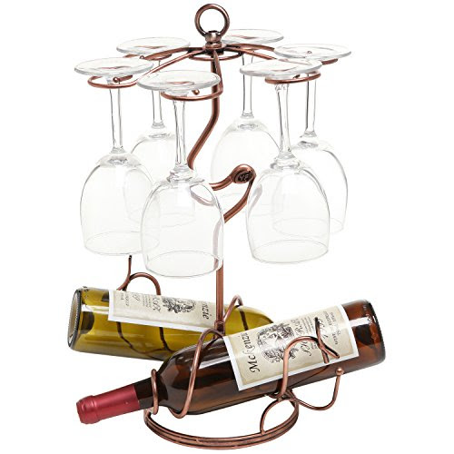 Freestanding Scrollwork Bronze Metal 2 Wine Bottles 6 Wine Glass