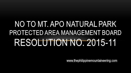 President Benigno Aquino III, DENR Secretary Ramon J.P. Paje, Protected Area Management Board (PAMB) of Mt. Apo Natural Park: Ibasura ang MANP-PAMB Resolution No. 2015-11