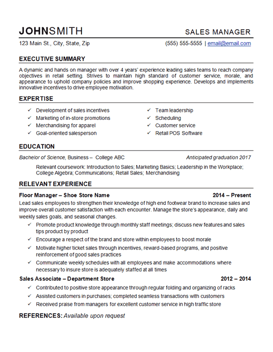 resume28 retail manager