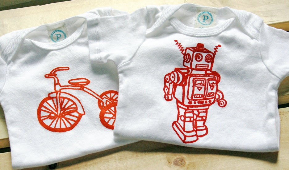 Trike and Robot. Onesie Bodysuit Set of Two. Hand Screen Printed.