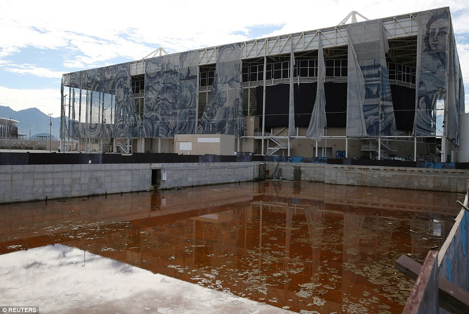 Sad legacy: The Olympic Aquatics Centre in Rio de Janeiro, which was set to be converted into two schools