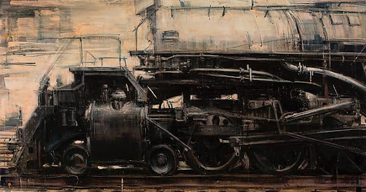 "Valerio D'Ospina, ""Still Steel and Steam,"" oil on panel, 32x48""."