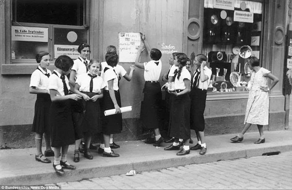 Members of the League of German Girls, pictured,                 received political indoctrination but did not receive                 any academic training as the regime saw their primary                 purpose as becoming mothers to create Hitler's idea of a                 'master race'