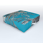 """Turquoise Winter Wanderlust II - Forest Sky Nature Photography Outdoor Floor Cushion by Cascadia - 26"""" x 26"""" x 6"""""""