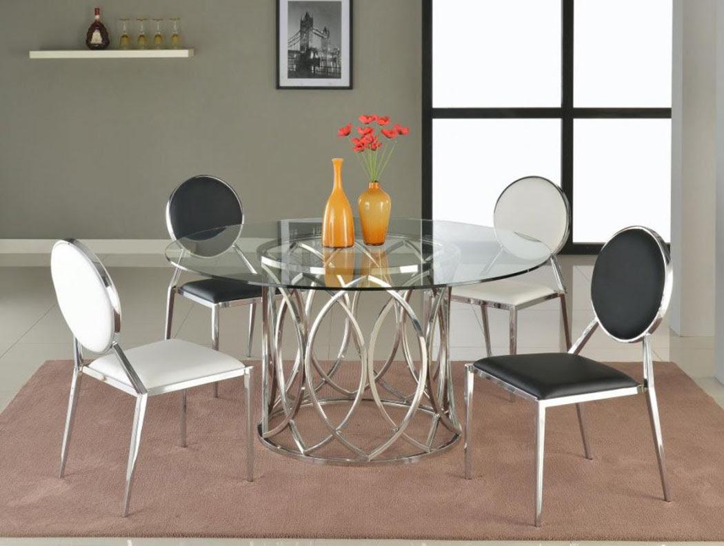 Round Glass Dining Table With Steel Base San Antonio Texas CHCOUR